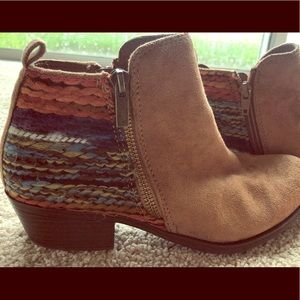 Brown suede booties